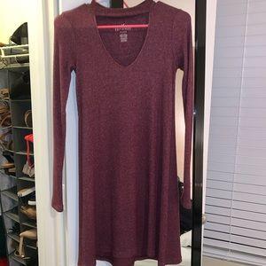 Burgundy Keyhole Sweater Dress
